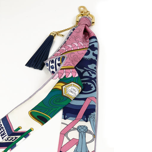 Hermès Vintage Scarf Bag Charm made from 'Les Tresors d'un Artiste'