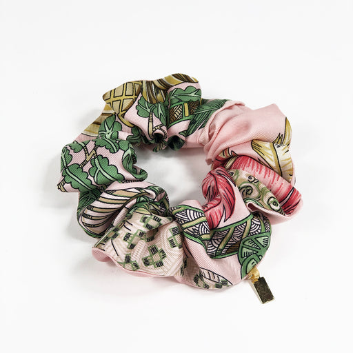 Hermès Vintage Scarf Scrunchie made from 'Silk Chapeau!' in Pink & Green