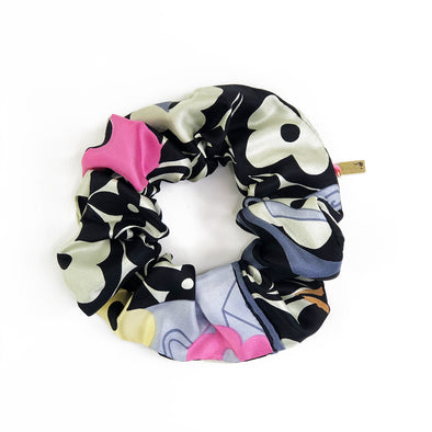 Louis Vuitton Vintage Scarf Scrunchie made from Black LV Floral