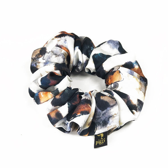 'Painted Lady' Leopard print Italian Silk Piggi Scrunchie