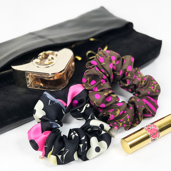 Louis Vuitton silk scarf scrunchie
