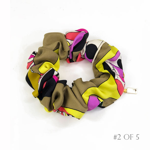 Scrunchie made from a Vintage Emillio Pucci Scarf in Acid Yellow