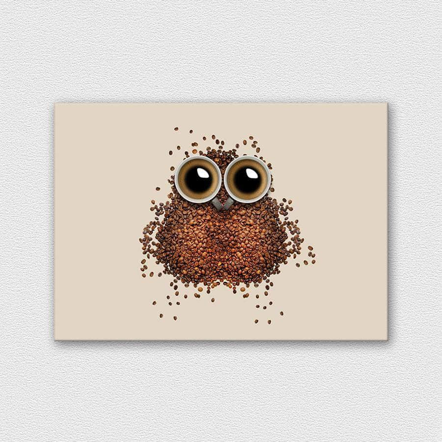 Coffee owl fémposzter - CoolDisplay