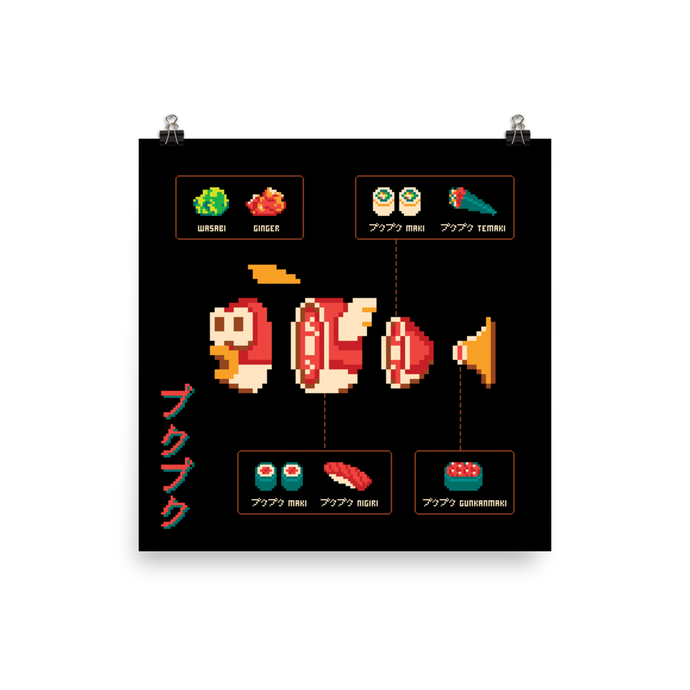 Cheep Cheep Sushi Diagram - Matte Print