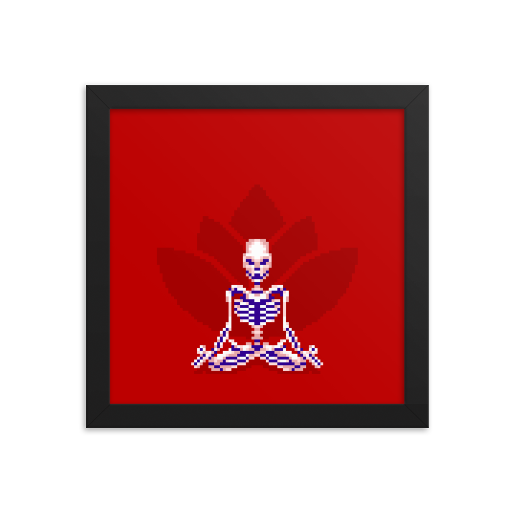 Skeleton in Lotus Pose - Framed Print