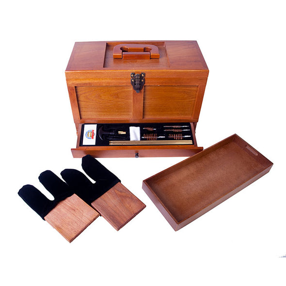 Gunmaster Wooden Toolbox with 17pc Universal Gun Cleaning Kit