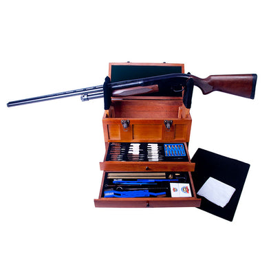 Gunmaster Wooden Toolbox with 63pc Universal Select Deluxe Gun Cleaning Kit