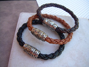 Thick Braided Leather Bracelet with Ornate Filigreed Stainless Steel Magnetic Clasp - Urban Survival Gear USA