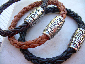 Thick Braided Leather Bracelet with Ornate Filigreed Stainless Steel Magnetic Clasp