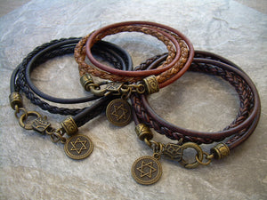 Double Wrap Smooth and Braided Leather Star of David Bracelet - Urban Survival Gear USA