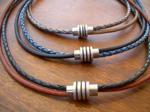 Braided and Smooth Leather Choker Necklace with Antique Toned Magnetic Clasp - Urban Survival Gear USA