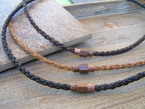 Mens Leather Necklace With Copper Toned Brass Magnetic Clasp, Copper, Magnetic Clasp,Mens Jewelry, Mens Bracelet, Leather Bracelet, - Urban Survival Gear USA