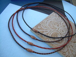 Thin Braided Leather Necklace With Copper Toned Brass Magnetic Clasp, Leather Necklace, Mens Necklace, Mens Jewelry, Fathers Day, Groomsmen,