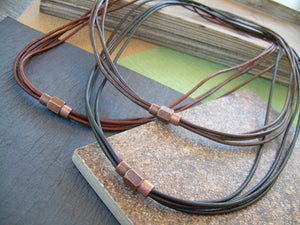 Thin Strands Leather Necklace with Copper toned Brass Magnetic Clasp, Mens Jewelry, Mens Necklace, Leather Necklace, Men Gift
