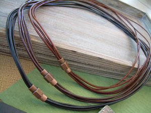 Thin Strands Leather Necklace with Copper toned Brass Magnetic Clasp, Mens Jewelry, Mens Necklace, Leather Necklace, Men Gift - Urban Survival Gear USA