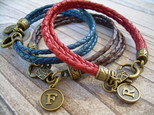 Initial Charm Bracelet, Braided Leather Bracelet, Personalized Bracelet, Monogrammed Bracelet, Womens Bracelet, Mens Jewelry, Women, Jewelry - Urban Survival Gear USA