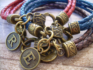 Three Stand Braided Initial Charm Bracelet - Urban Survival Gear USA