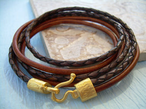 22k Gold Plated Hook Clasp Triple Wrap Leather Bracelet - Urban Survival Gear USA