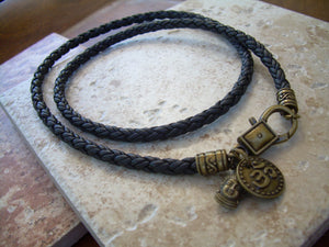 Braided Leather Buddha and Om Charm Necklace - Urban Survival Gear USA