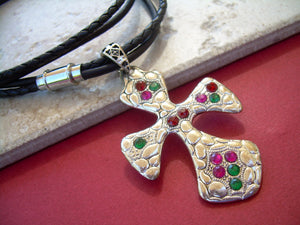 Womens Jeweled Christmas Leather Cross Necklace - Urban Survival Gear USA