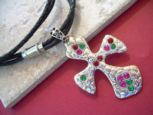 Womens Jeweled Christmas Leather Cross Necklace