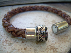 Thick Braided Leather Bracelet with a Large Filigreed Stainless Steel Magnetic Clasp