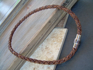 Mens Thick Braided Leather Necklace with Filigreed Stainless Steel Magnetic Clasp,Mens Necklace,Mens Jewelry, Groomsmen