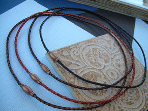 Thin Braided Leather Necklace With Copper Toned Brass Magnetic Clasp - Urban Survival Gear USA