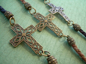 Leather and Bronze Braided Filigreed Cross Bracelet - Urban Survival Gear USA