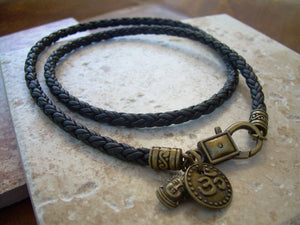 Om Necklace Leather, Mens Om Necklace, Buddha Necklace Leather, Necklace Womens, Buddha Jewelry, Mens, Womens, Om, Ohm, Yoga, Namaste - Urban Survival Gear USA