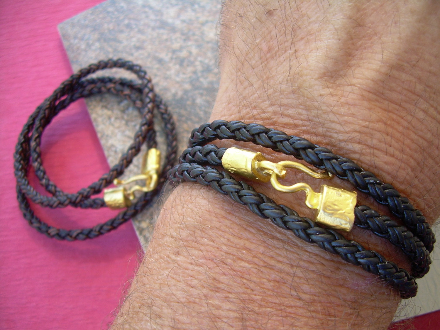 Triple Wrap Braided Leather Bracelet With 22k Gold Plated Hook Clasp
