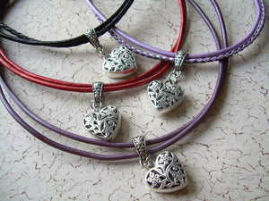Womens Heart Necklace, Choker, Heart Pendant, Valentine's Day, Purple, Red, Leather Necklace, Womens Jewelry, Womens Necklace, Gift for Her
