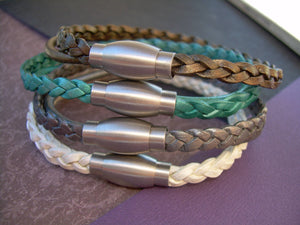 Flat Braided Leather Bracelet with Matte Stainless Steel Magnetic Clasp - Urban Survival Gear USA