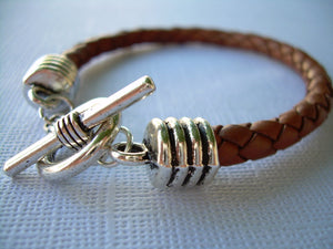 Mens Saddle Brown Braided Leather Bracelet, Mens Jewelry, Boyfriend Gift, Braided Bracelet, Toggle Clasp, Leather Gift, Dad Gift, Under 20
