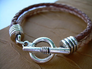 Double Strand Mens Braided Leather Bracelet, Saddle and Natural Braids, Leather Bracelet,Mens Bracelet,Mens Jewelry,Fathers Day,Gift for Him - Urban Survival Gear USA