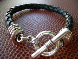 Mens Leather Bracelet,  Toggle Closure, Brown Braid, Mens Jewelry, Mens Bracelet
