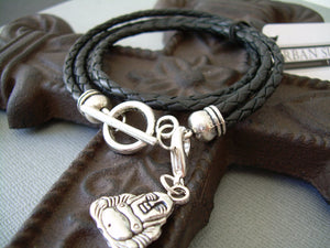 Mens Womens Unisex Leather Bracelet Double Strand Double Wrap Black Braided  With Lobster Clasp Charm - Urban Survival Gear USA
