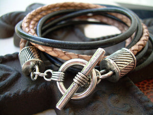 Mens Leather Bracelet  Four Strand Double Wrap Black and Natural Braid Urban Survival Gear USA  TSB09DW