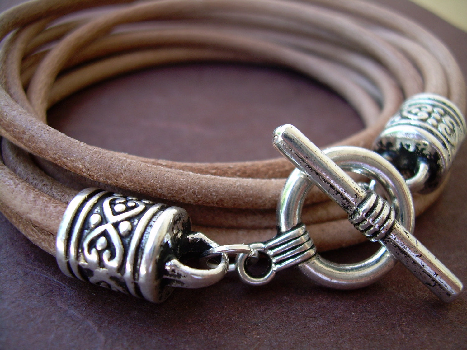 Brown Natural Leather Wrap Bracelet Silver Jewelry Gift for Women Size 7.5
