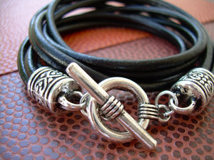 Womens Leather Bracelet Four Strand Double Wrap Black with charm Urban Survival Gear - Urban Survival Gear USA