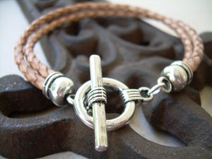 Mens Leather Bracelet  Toggle Clasp Double Natural Braid  - TSB06  Urban Survival Gear USA