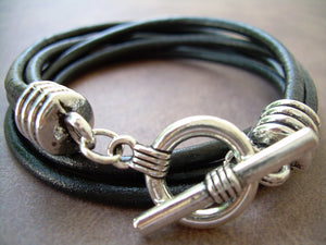 Three Strand Double Wrap Black Leather Bracelet - Urban Survival Gear USA