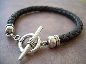 Mens Simple Black Braided Leather Bracelet with Toggle Clasp, Mens Black Bracelet, Braided, Bracelet, Mens Jewelry, Leather Jewelry,