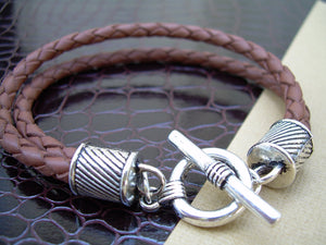 Mens Leather Bracelet  Double Strand Saddle Braid Urban Survival Gear USA  TSB09T
