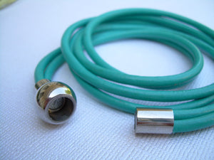 Turquoise Triple Wrap Leather Bracelet with Stainless Steel Magnetic Clasp