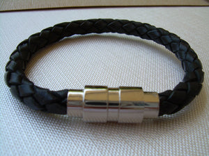 Black Braided Mens Leather Bracelet with Double Barrel Stainless Steel Magnetic Clasp - Urban Survival Gear USA