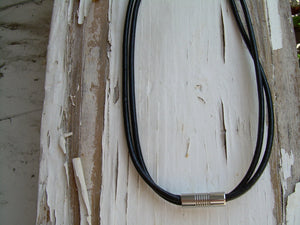 Double Strand Black Leather Necklace with Stainless Steel Magnetic Clasp - Urban Survival Gear USA