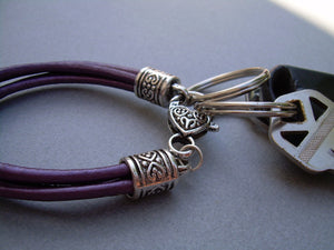 Purple Leather Leather Bracelet Valet Keychain
