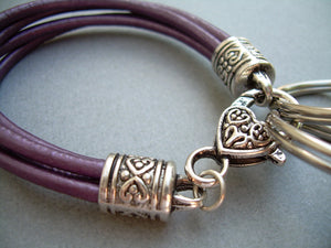 Purple Leather Leather Bracelet Valet Keychain - Urban Survival Gear USA