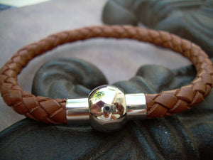 Braided Saddle Leather Bracelet with Stainless Steel Magnetic Ball Clasp